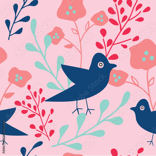 Fotografie, Obraz  Blue pink and coral hand drawn flowers and birds seamless pattern