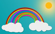 Cloud and Rainbow in blue sky paper art