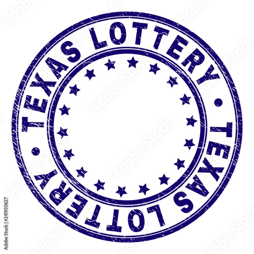 фотография  TEXAS LOTTERY stamp seal imprint with distress texture