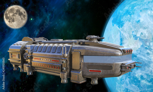 Fotografia  3D Illustration of a Futuristic Cargo Ship Approaching Earth