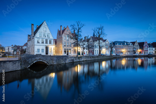Tuinposter Centraal Europa Historic Brugge city center with buildings at canal at twilight,, Flanders, Belgium