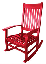 Bright Red Wooden Rocking Chair Isolated On White. Comfortable Casual Style Seat