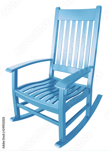 Stupendous Baby Blue Wooden Rocking Chair Isolated On White Evergreenethics Interior Chair Design Evergreenethicsorg