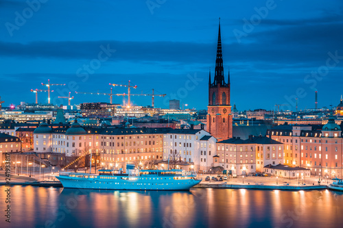 In de dag Centraal Europa Stockholm skyline panorama in twilight, Sweden