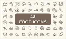 Set Of 48 Food Related Vector Line Icons. Stroke Icons Set. Collection Of Food, Restaurant, Chicken, Pizza, Dessert And Other Elements. Customize Color, Stroke Width Control , Easy Resize.