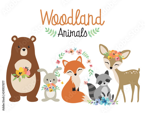 Cute woodland forest animals vector illustration including bear, bunny rabbit, fox, raccoon, and deer. © JungleOutThere
