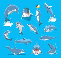 Fototapeta Delfin Bottlenose Dolphin Ball Cute Cartoon Vector Illustration