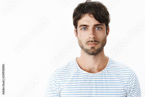 Authentic shot of young attractive guy with slight rash on neck after shaving lo Wallpaper Mural