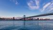 Manhattan skyline viewed from Brooklyn with Manhattan bridge, in New York City, USA