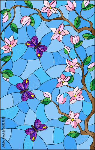 Naklejki witrażowe  illustration-in-stained-glass-style-with-cherry-blossom-tree-and-bright-butterflies-on-blue