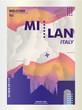 Italy Milan skyline city gradient vector poster