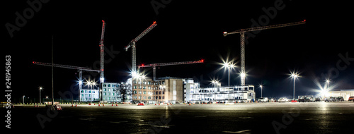 Building site with cranes by night Canvas Print