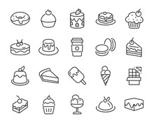 Set Of Sweet Icons, Such As, Coffee, Cake, Dessert, Chocolate, Pudding, Pancake, Bakery
