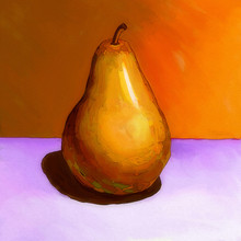 Hand Drawn Oil Art Pear On The Table Stylization