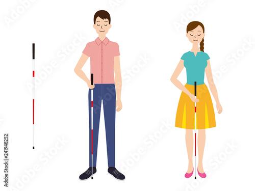 Fotografie, Obraz  白杖を持つ視覚障害者の男性と女性