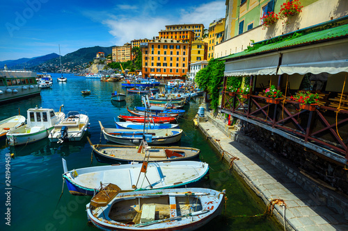 Tuinposter Poort Mediterranean harbor with colorful boats, Camogli resort, Liguria, Italy, Europe