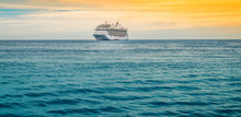 Cruise Ship On The Ocean. Travel Background.