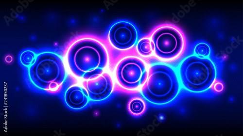 Fotografie, Obraz  Neon party background, abstract multicolor background with bright circles