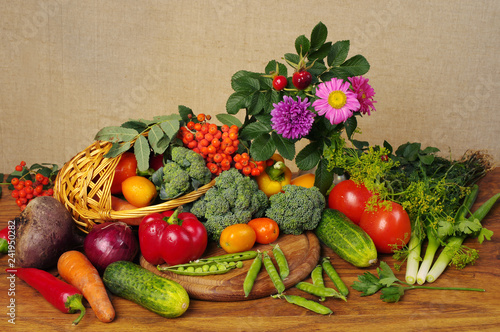 A variety of delicious vegetables on the kitchen board. Copy space.  © yrafoto