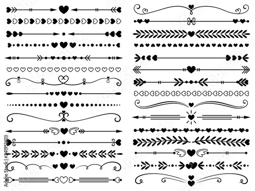 Obraz Hearts border divider. Love vintage decorative line separator, heart arrows and dotted separating lines isolated vector set - fototapety do salonu