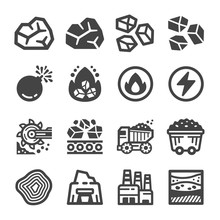 Coal Icon Set,vector And Illustration