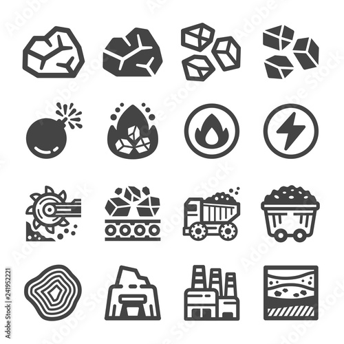 Foto coal icon set,vector and illustration