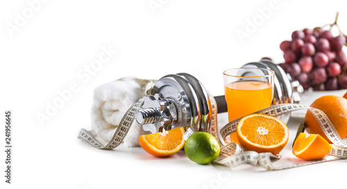 Cuadros en Lienzo Sport dumbbells fresh fruit measure tape and multivitamin juice isolated on white background
