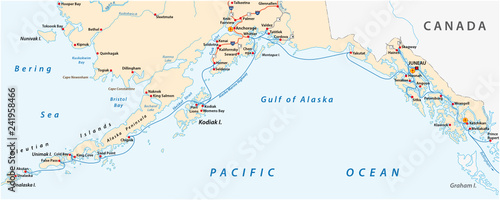 Vector road map of the North American state of Alaska ...