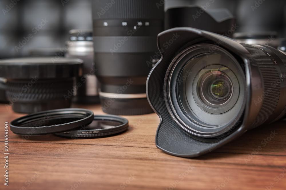 Fototapety, obrazy: Digital camera, lenses and professional photographer's equipment