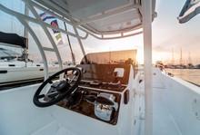 A Modern Speed Boat Yacht Steering Wheels.