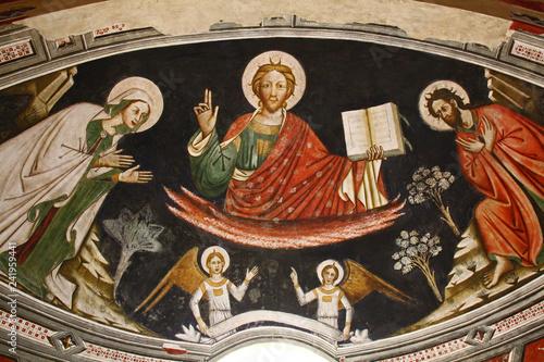 Cristo glorioso tra due santi; affresco nella Basilica di Santa Caterina d'Aless Canvas-taulu