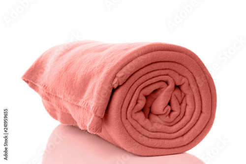 Photo rolled up fleece blanket in living coral - color of the year 2019
