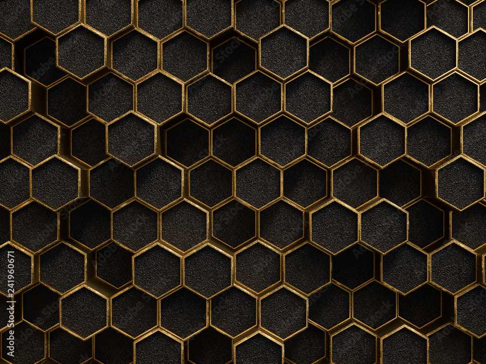 Fototapety, obrazy: Gold and black geometric hexagon pattern, golden rough texture metallic background, 3d rendering