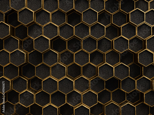 Fototapety złote  gold-and-black-geometric-hexagon-pattern-golden-rough-texture-metallic-background-3d-ren