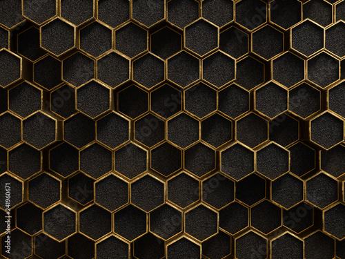 Obrazy kolor złota  gold-and-black-geometric-hexagon-pattern-golden-rough-texture-metallic-background-3d-ren