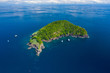 canvas print picture - Aerial drone view of a remote, beautiful tropical island surrounded by coral reef (Ko Bon, Thailand)