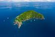 Leinwandbild Motiv Aerial drone view of a remote, beautiful tropical island surrounded by coral reef (Ko Bon, Thailand)