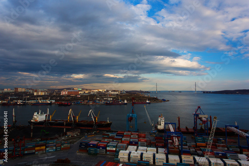 Garden Poster Cyprus Vladivostok Commercial Sea Port. Container terminals in Vladivostok