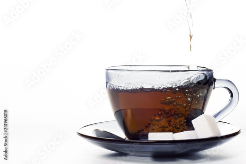 Stickers pour porte The glass cup of tea isolated on white background with copy space