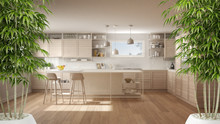 Zen Interior With Potted Bamboo Plant, Natural Interior Design Concept, Modern White Kitchen With Wooden Details And Island With Stools, Minimalist Architecture