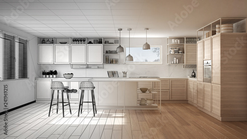 Canvas Architect interior designer concept: unfinished project that becomes real, kitch