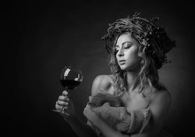 Beautiful Girl With Glass Of ...