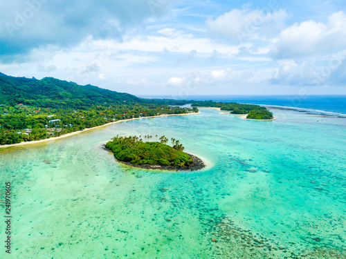 Wall Murals Green coral An aerial view of Muri Lagoon on Rarotonga in the Cook Islands