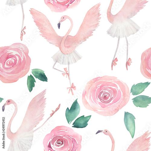 balet-tanczacy-flamingo-recznie-rysowane