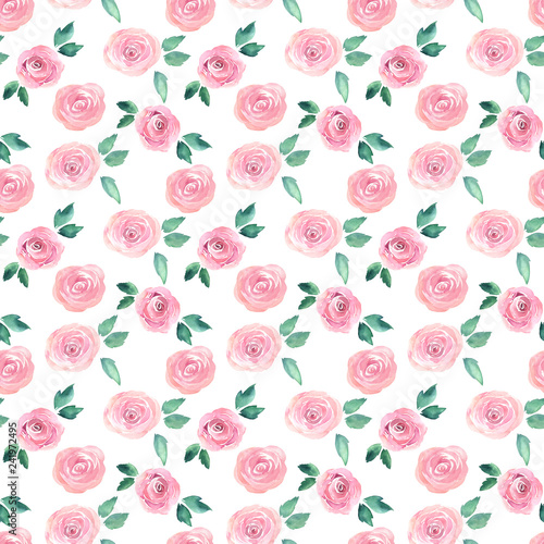Watercolor seamless pattern with roses. Hand drawn illustration Fototapeta