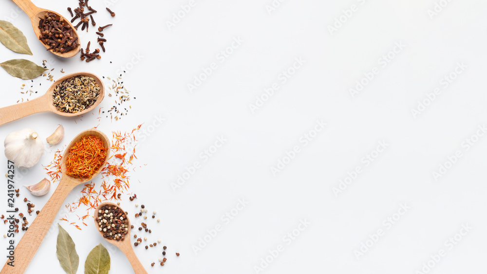 Fototapety, obrazy: Various spices and herbs in spoons on white background