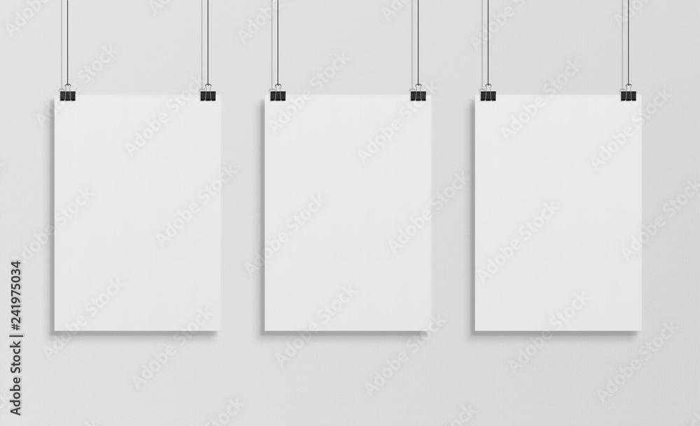 Fototapeta Three white poster hanging mockup 3d rendering