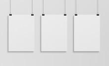 Three White Poster Hanging Mockup 3d Rendering