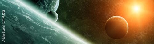 Fototapeta premium Panoramiczny widok planet w odległym układzie słonecznym Elementy renderowania 3D tego obrazu dostarczone przez NASA
