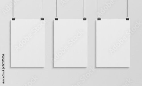 Fototapeta Three white poster hanging mockup 3d rendering obraz